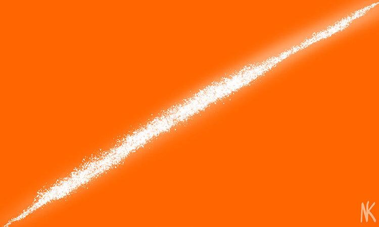 The thin slice - white light slicing through an orange background.